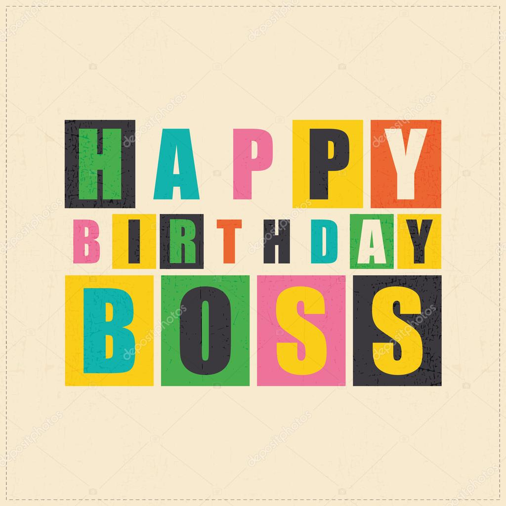 Happy birthday card. Happy birthday boss. vector ...