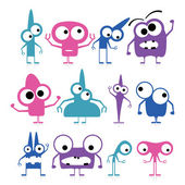 Set of cute monsters isolated on white — Stock Vector