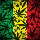 Cannabis leaf on grunge rastafarian flag. — Stock Vector