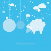 Sheep in sky with round place for text. — Stock Vector