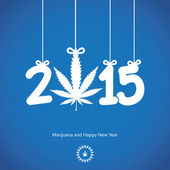 Happy New Year.Cannabis leaf with 2015 year on blue background. — Stock Vector