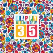 Retro Happy birthday card on floral background. Happy birthday 35 years. — Stock Vector