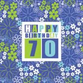 Retro Happy birthday card on floral background. Happy birthday 70 years. — Stock Vector