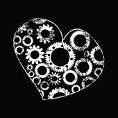 Vektör çizimi bir kalp ile vites — Stok Vektör