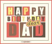 Retro Happy birthday card.Happy birthday dear dad. — Stock Vector