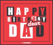 Retro Happy birthday card.Happy birthday dear dad. — Stock Vector