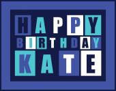 Retro Happy birthday card. Happy birthday Kate, — Stock Vector