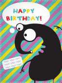Happy birthday invitation card with cute monster — Stock Vector
