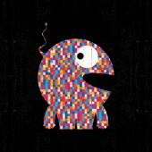 Colorful pixel monster on black grunge background. — Stock Vector