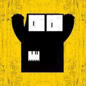 Monster on grunge background. — Stock Vector