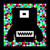 Colorful pixel monster on grunge background. — Stock Vector