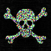 Colorful pixel skull on black grunge background. — Stock Vector