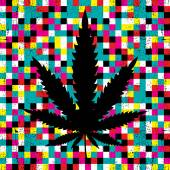 Cannabis leaf on grunge colorful pixel background. — Stock Vector