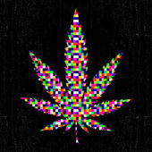 Cannabis colorful pixel leaf on grunge black background. — Stock Vector