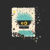 Cute monster on retro grunge Postage Stamp. — Stock Vector