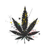 Cannabis leaf with grunge color elements. — Stock Vector