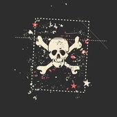 Skull on grunge background. — Stock Vector