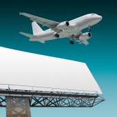 Airliner and billboard — Stock Photo