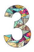 Mosaic digit 3 — Stock Photo