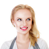 Beauty surprised blonde woman — Stock Photo