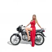Beautiful young wiman in red dress on a motorcycle — 图库照片