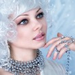 Fashion model with snow make-up — Stock Photo #67672407