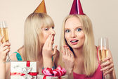 Two women celebrating birthday — Stock Photo