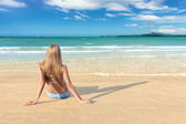 Young woman on beach — Stock Photo