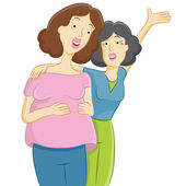Pregnant Daughter with Mother — Stock Vector