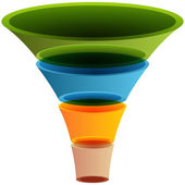 3d Layered Funnel Chart — Stock Vector