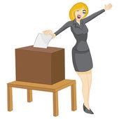 Woman Casting Vote — Stock Vector