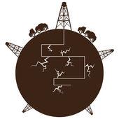 Fracking Process Globe — Stock Vector