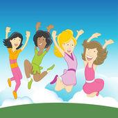 Happy Girls — Stock Vector