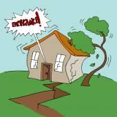 Earthquake at Home — Stock Vector