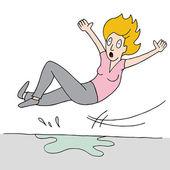 Woman Slips On Wet Floor — Stock Vector