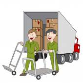 Moving Company Employees and Truck — Vecteur