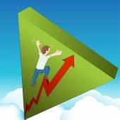 Climbing Wall of Worry — Stock Vector