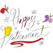 Happy Retirement Text — Vetor de Stock