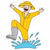 Splashing Puddle Man — Stock Vector