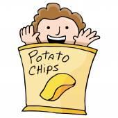 Potato Chip Kid — Stock Vector