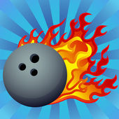 Flaming Bowling Ball — Stock Vector