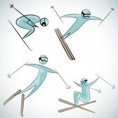 Skier Icon Set — Stock vektor
