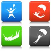 Skydiving Icon Set — Stock Vector