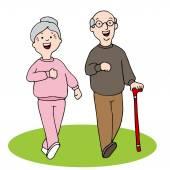 Senior Citizens Walking — Stock Vector