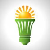 Solar Energy Efficient Lightbulb — Vettoriale Stock