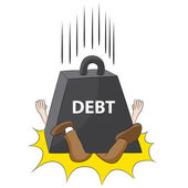 Crushing Debt — Stock Vector