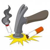 Breaking The Smoking Habit — Stock Vector