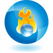 Burning Globe web button — Stock Vector #64129841