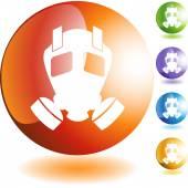 Gas Mask web button — Stock Vector