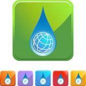 Water Drop World  web button — Stock Vector